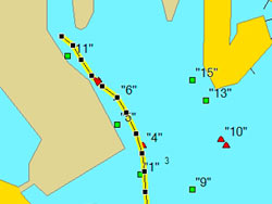 GPS route into Pasadena Marina's channel